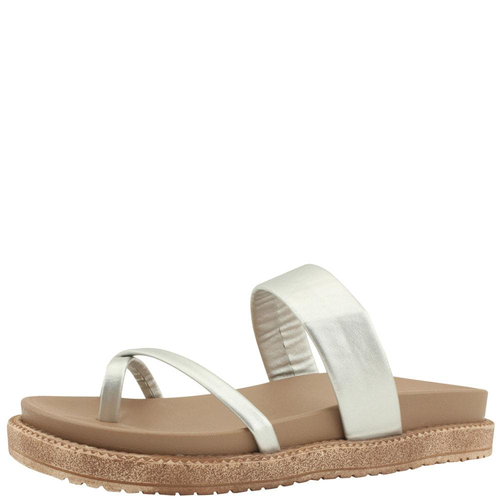 Flip-Flop Mary Jane Flat Slippers Silver