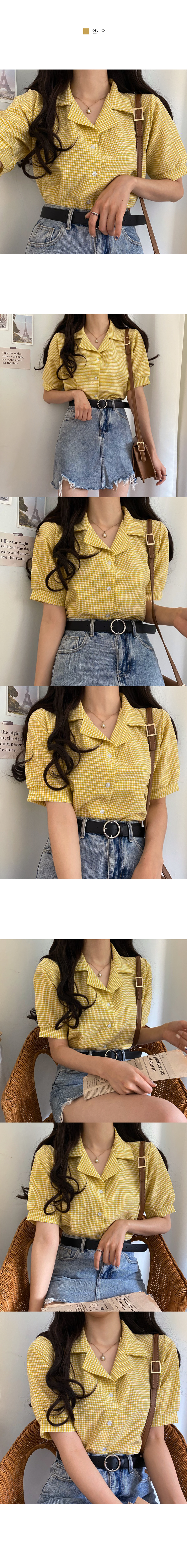 Say light check collar blouse
