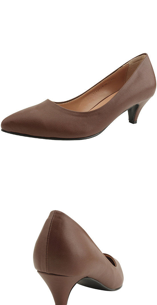 Stiletto Simple Middle Heel Shoes Brown