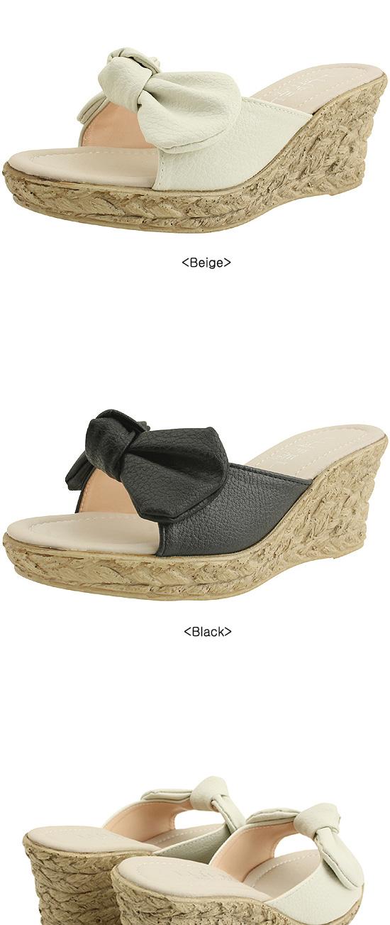 Ribbon Mule Wedge Heel Slippers 7cm Black