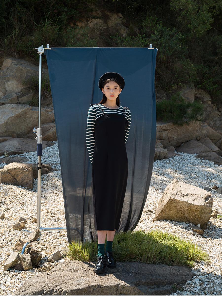 Pin Tuck Slim Long Dress