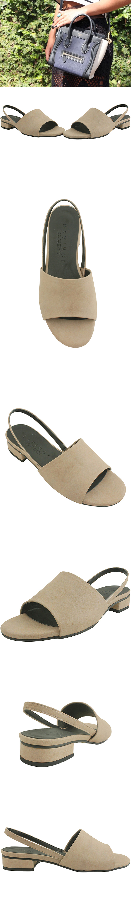 Flat toe open slingback sandals beige