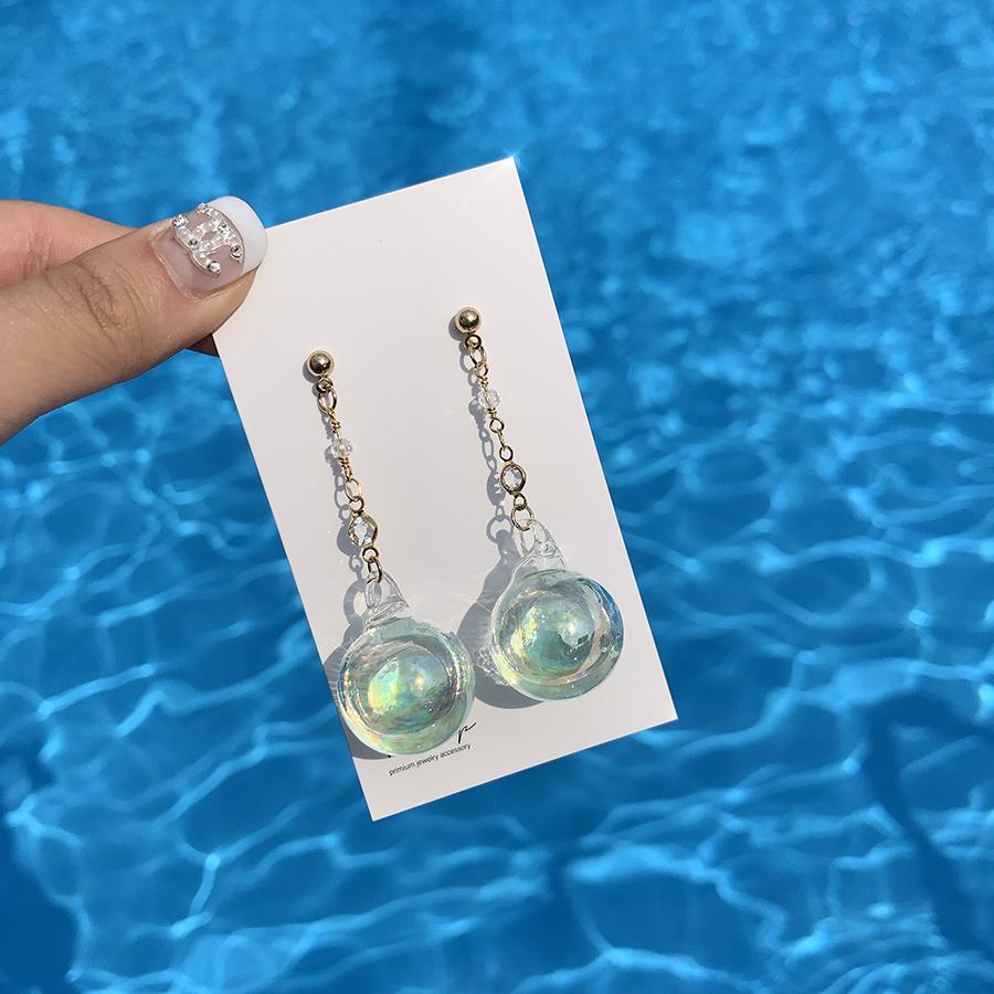 Water Bubble Vivid Long Drop Earrings