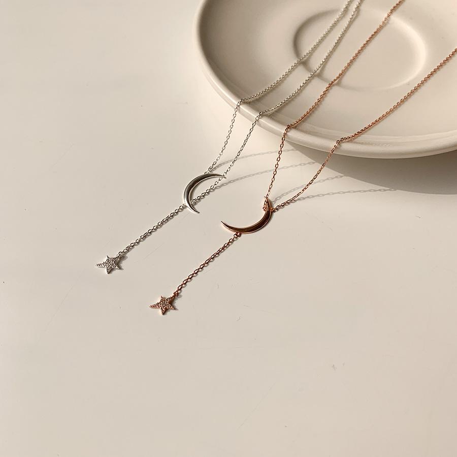 Luna Moon Star Cubic Layered y Necklace