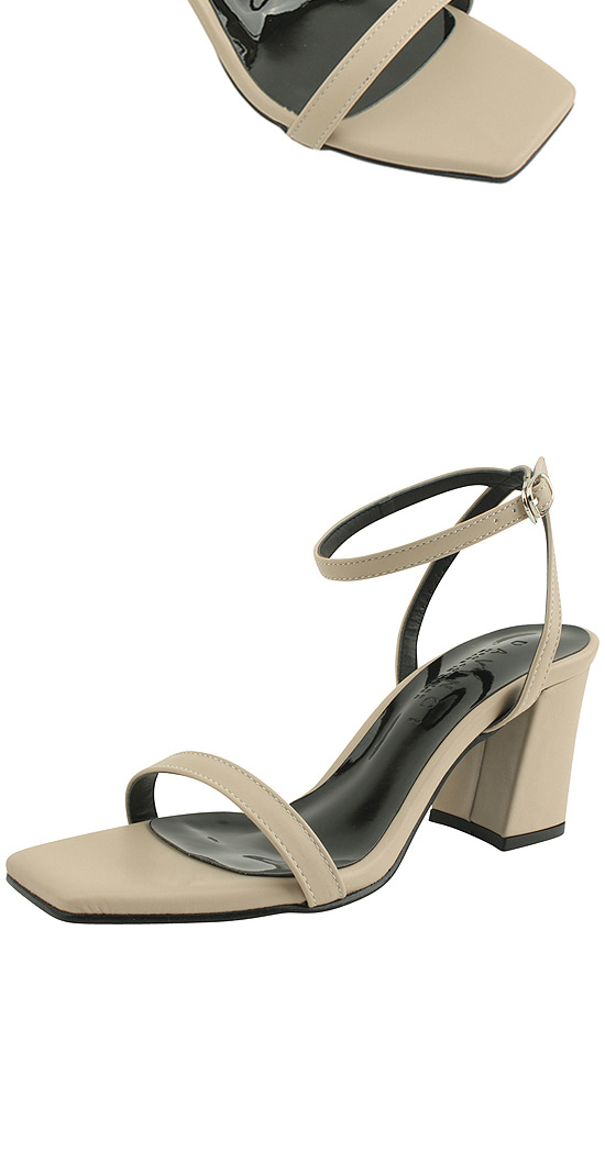 Strap square nose high heel sandals beige