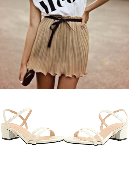 Enamel Banding Strap Middle Heel Sandals White