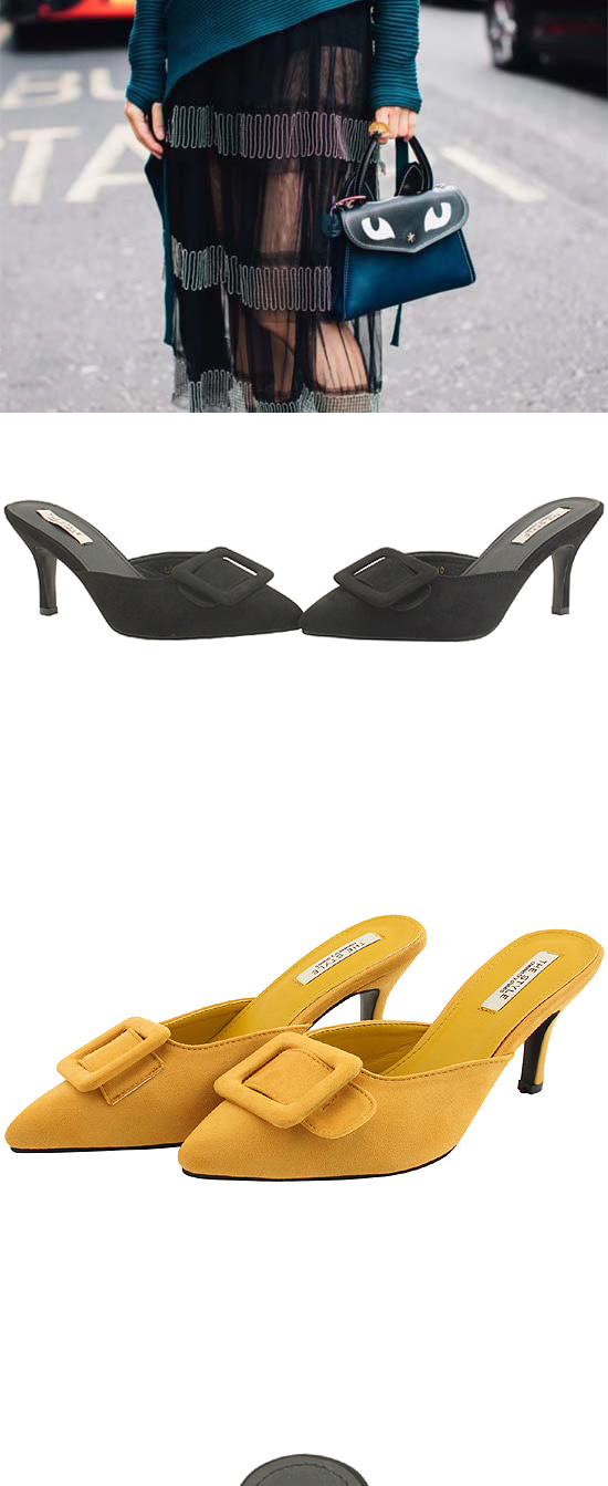 Square Buckle Suede Mule Slippers Black