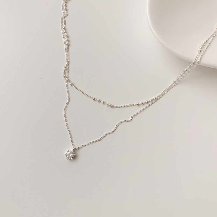 Miss cubic double-layer layered silver925 necklace