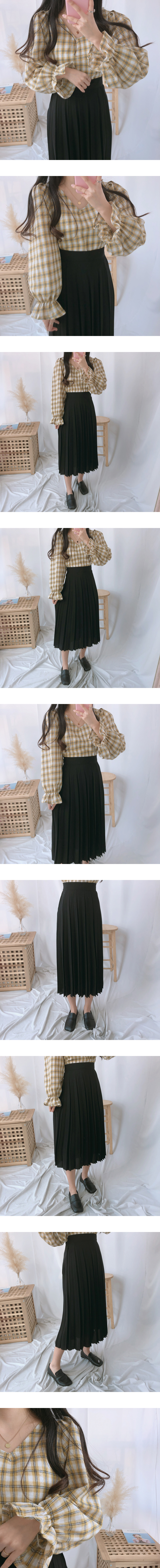 Shower pleated long skirt