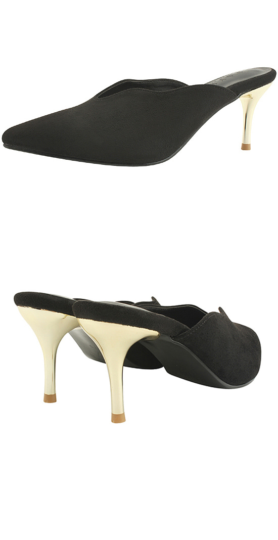 Stiletto Mule Gold High Heel Slippers Black