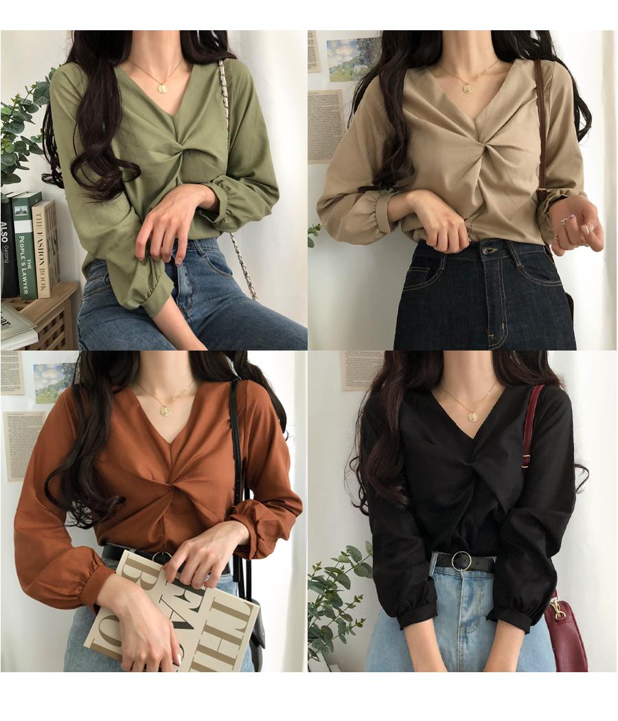 Autumn hemp twisted blouse