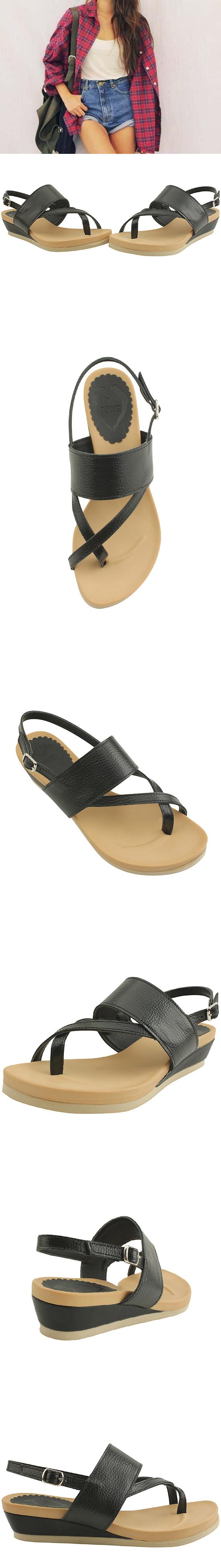 Cowhide Heel Wedge Low Heel Sandals Black
