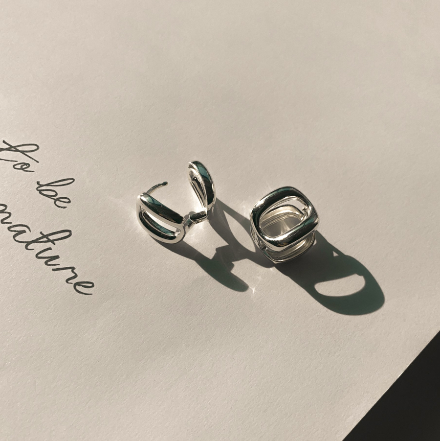Open round hole silver925 ring earring
