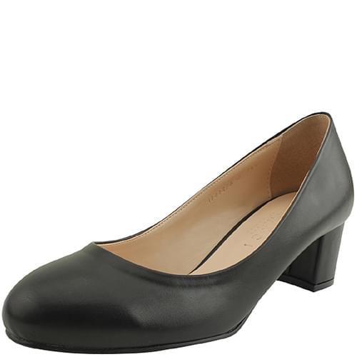 Round toe middle heel black