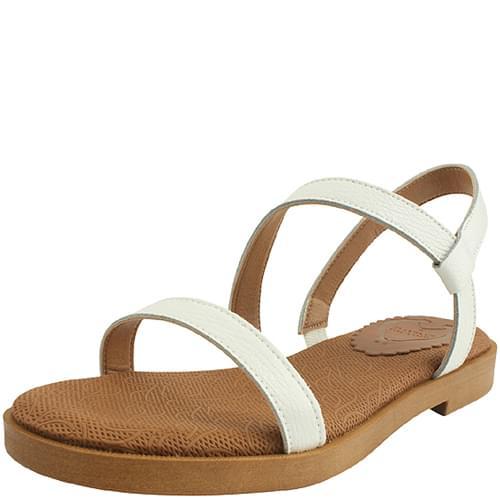 Cowhide Strap Flat Sandals White