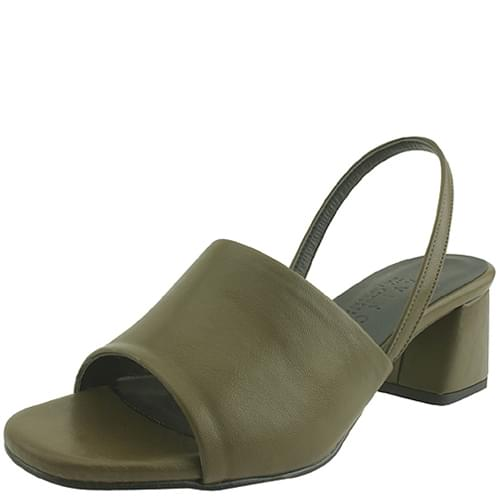 Toe open slingback middle heel sandals khaki