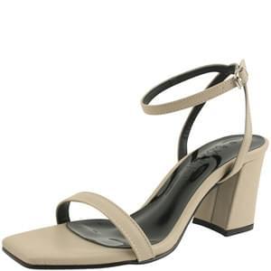 韓國空運 - Strap square nose high heel sandals beige 涼鞋