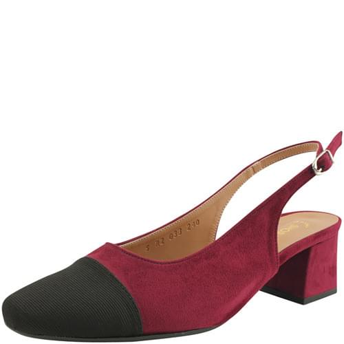 Two-tone square nose slingback middle heel wine