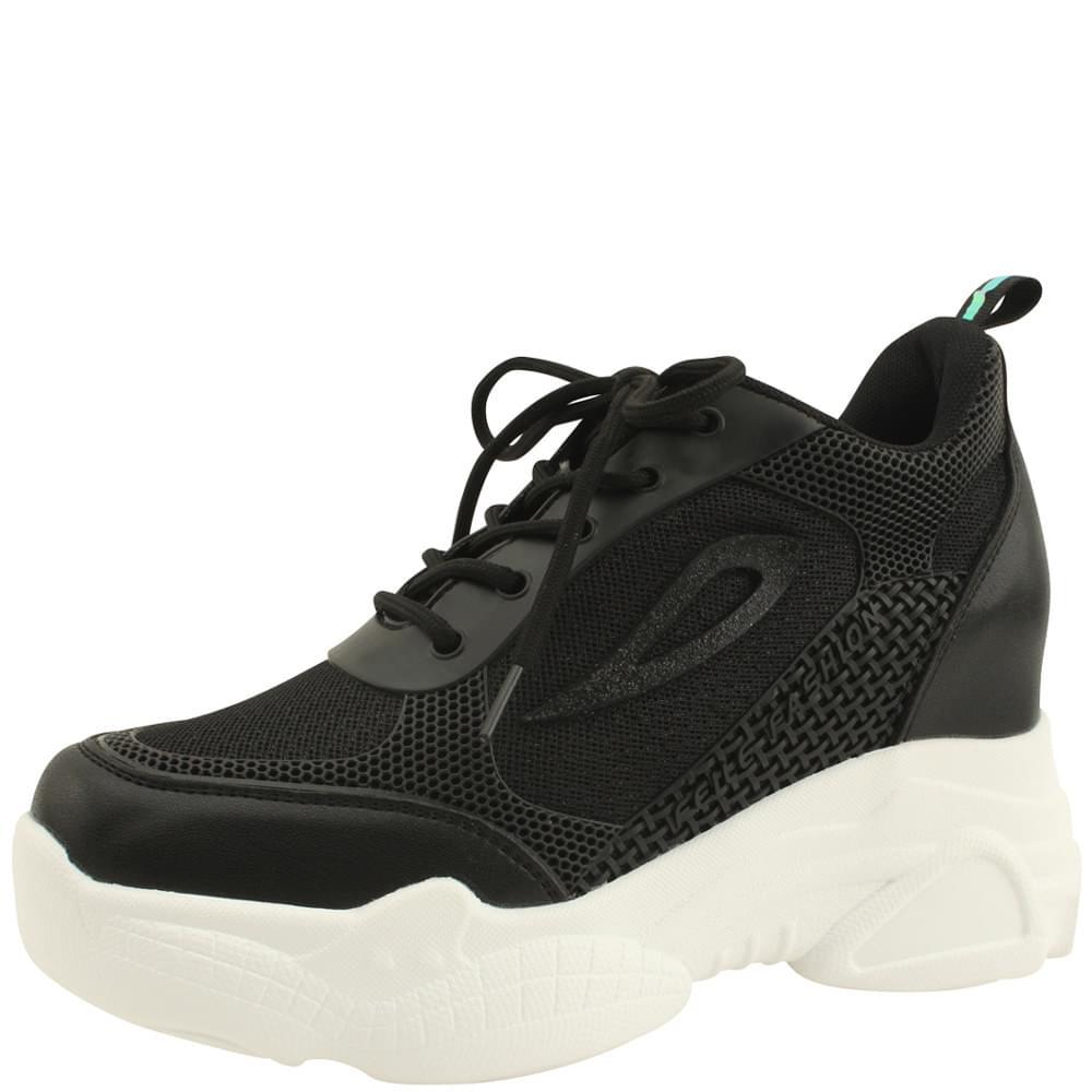 Mesh Height High Heel Sneakers 9cm Black