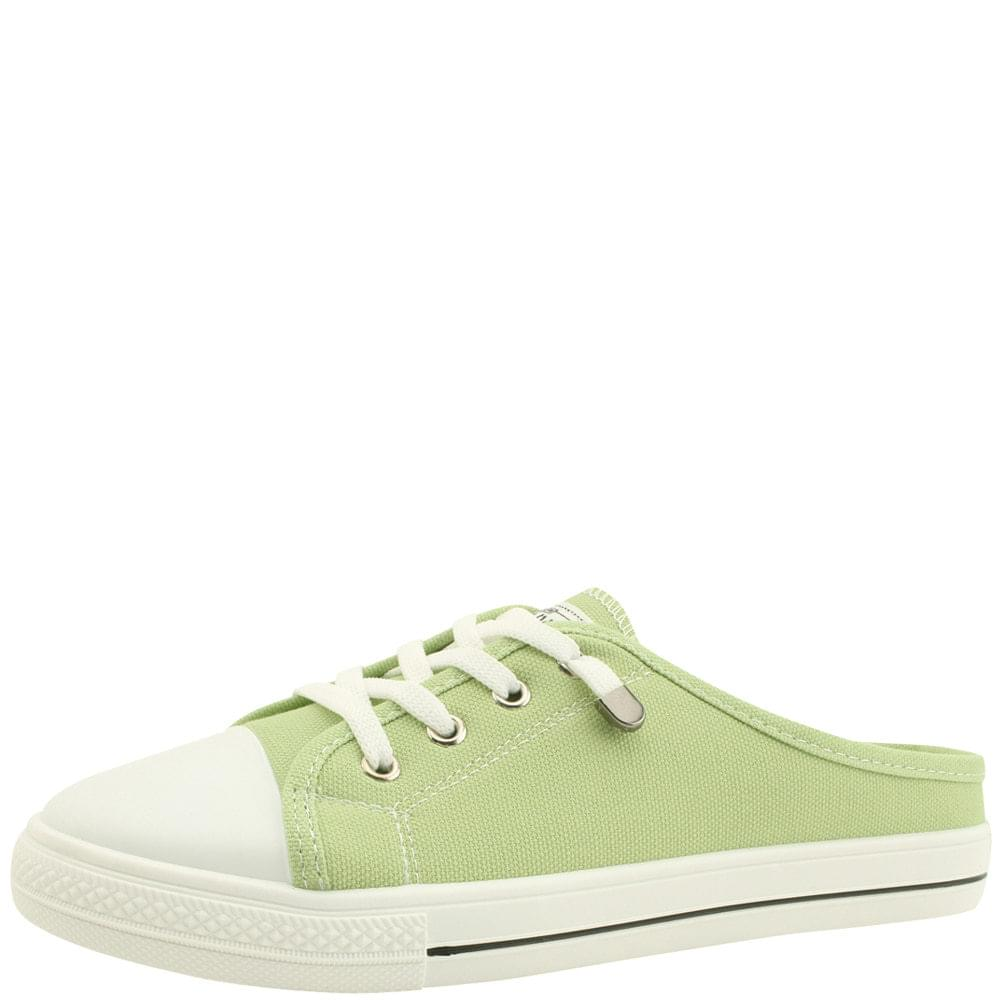 Canvas Sneakers Mule Slippers Light Green
