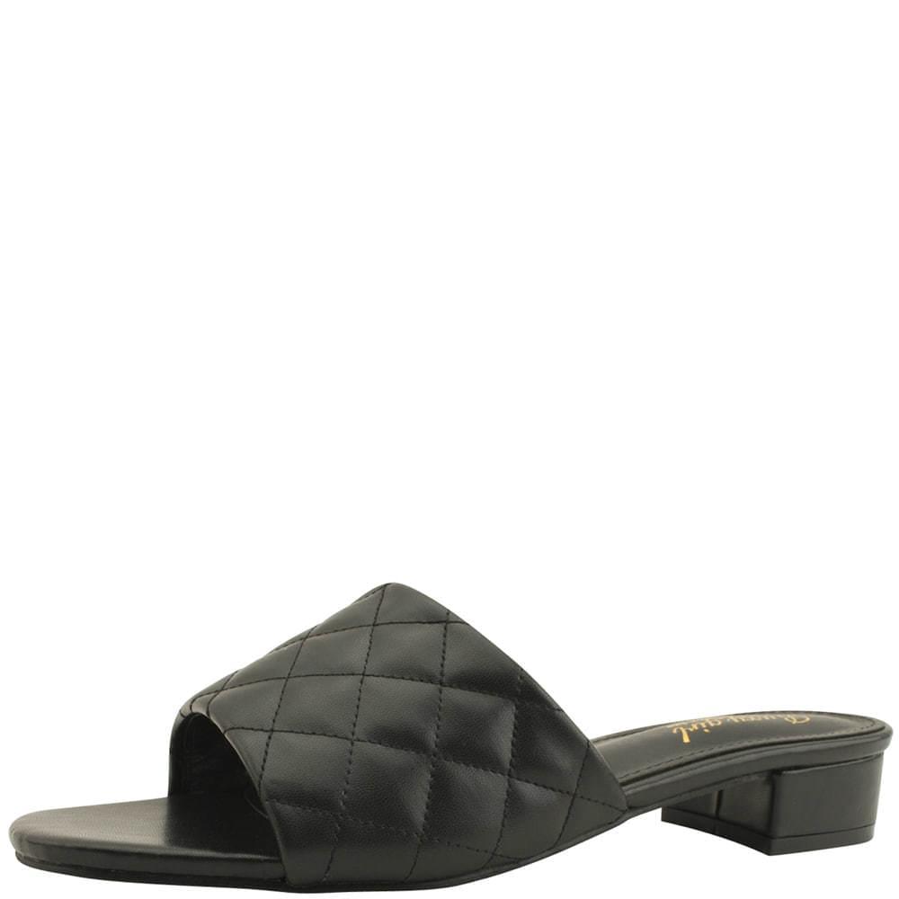 Lattice Stitch Low Heel Mule Slippers Black