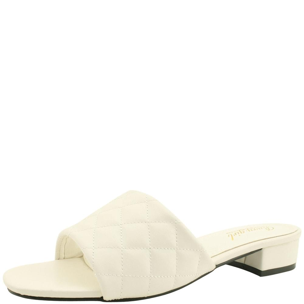 Lattice Stitch Low Heel Mule Slippers White