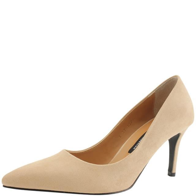Suede Stiletto High Heels 8cm Light Beige