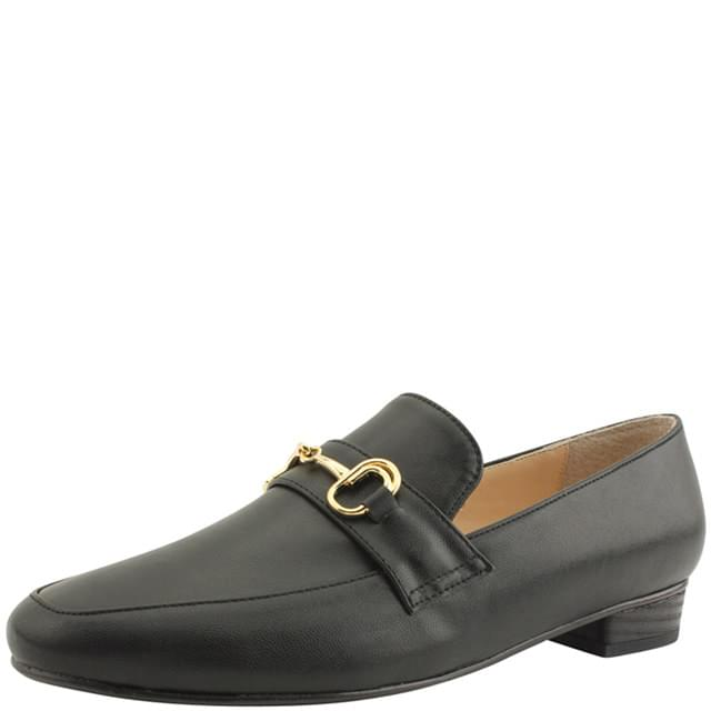 Classic Chain Strap Flat Loafers Black