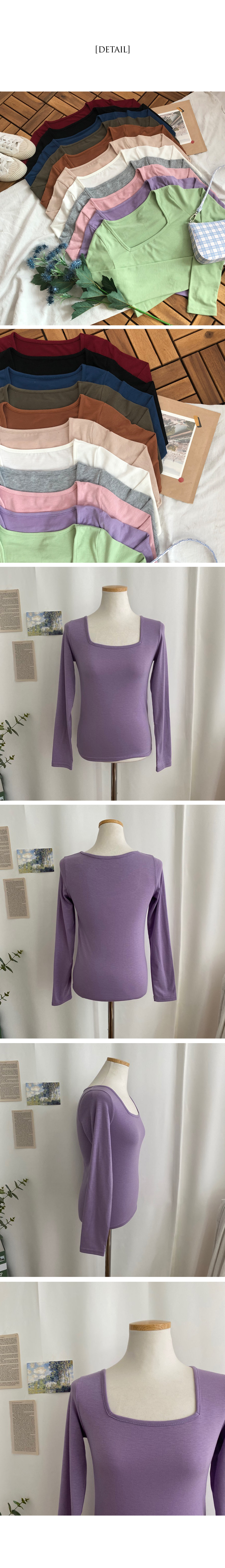 Classic Square Neck Long Sleeve T-Shirt