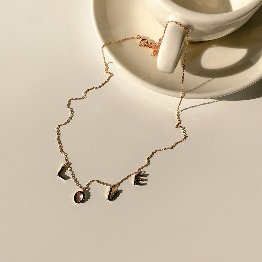 Love cubic silver925 necklace