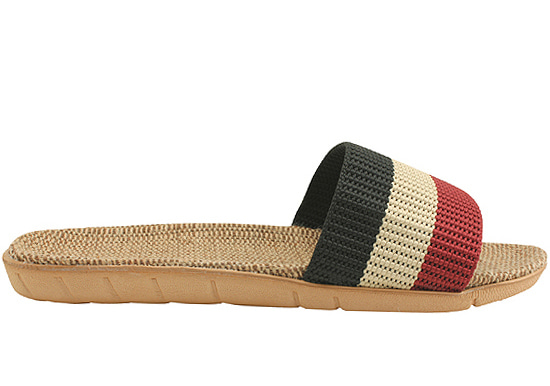 Three-wire ratan flat slippers red