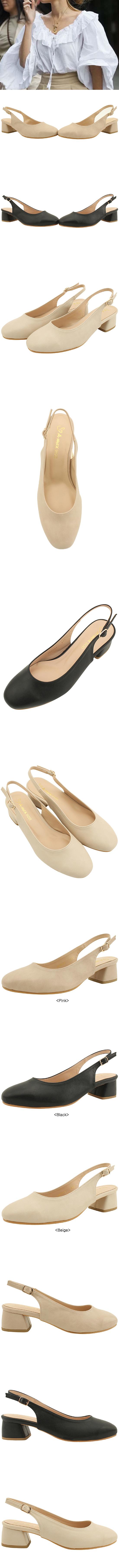 Simple Sling Bag Full Heel Middle Heel 5cm Pink