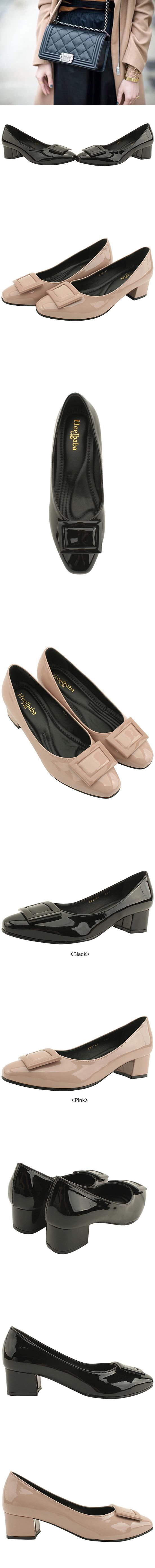 Enamel Full Heel Square Middle Heel Black