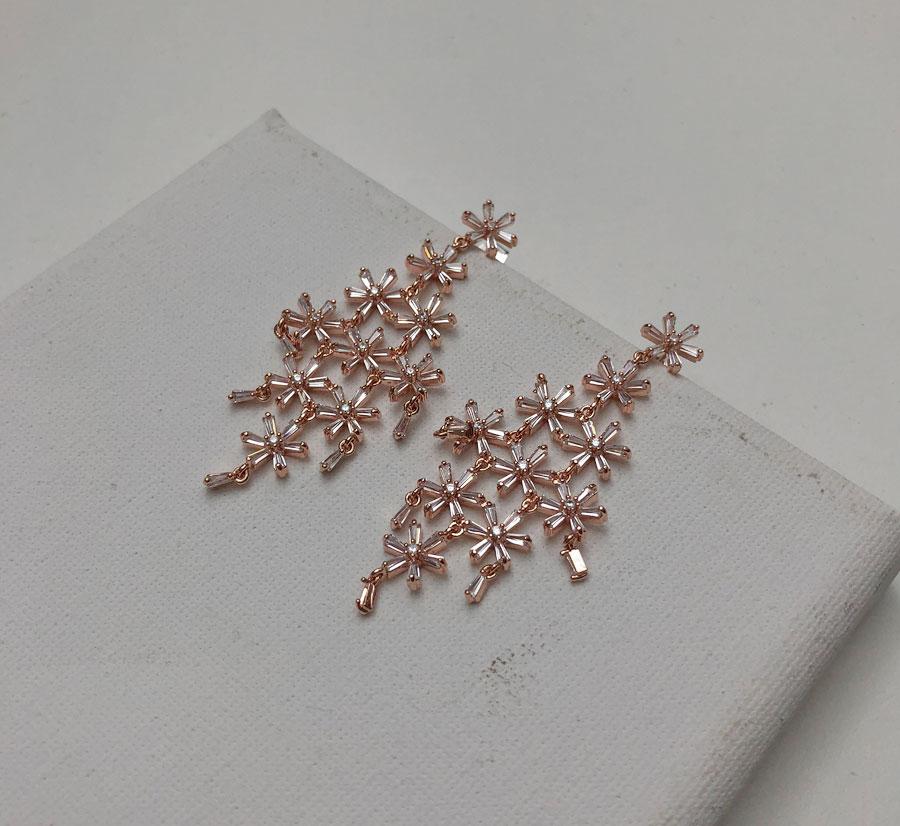 Flower Snowflake Silver 925 Drop Earrings