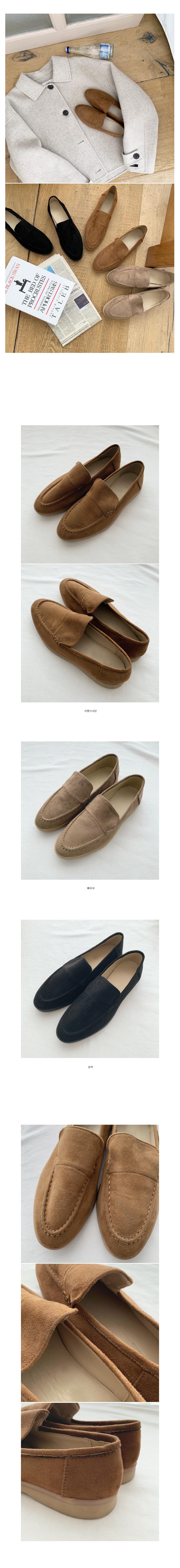 Gentle suede simple loafers-beige 225, camel brown 240, black 230