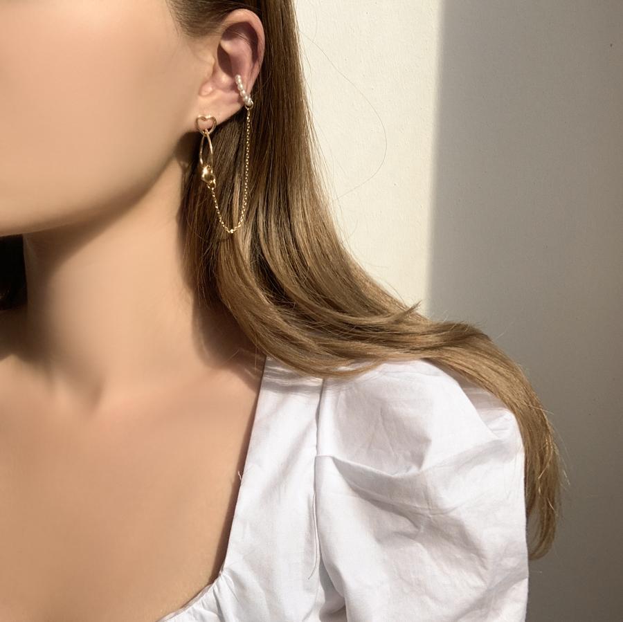 Lovely Heart Pearl Chain Ear Cuff