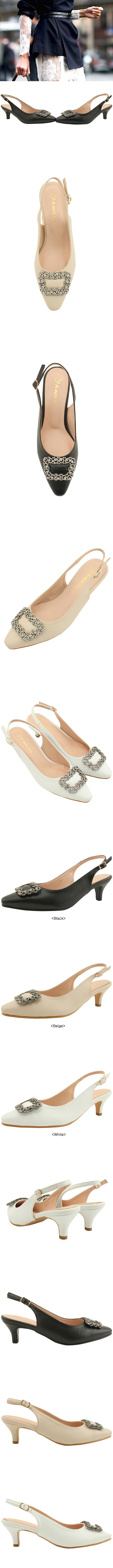 Cubic Stiletto Sling Bag Middle Heel White