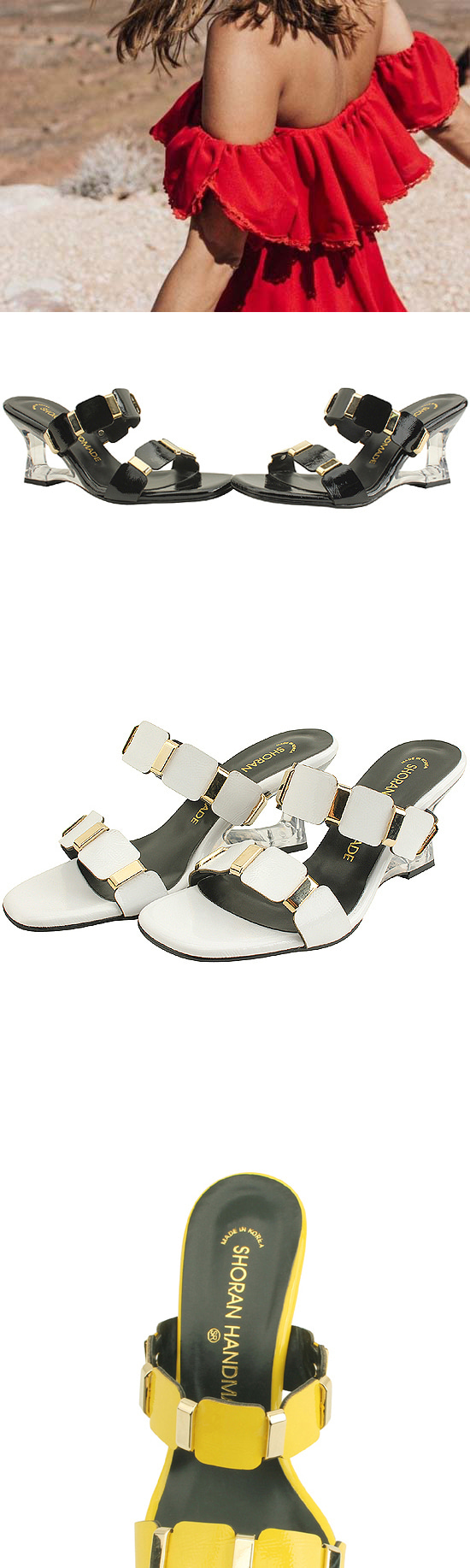 Unique Middle Wedge Heel Mule Slipper White
