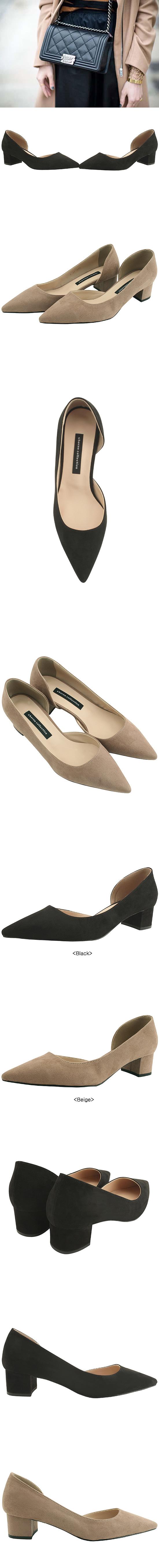 Stiletto Suede Low Heel 4cm Beige