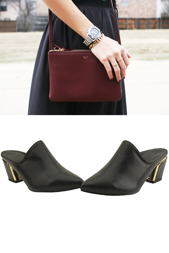 Pointed Nose Mule Thick Heel Slippers Black