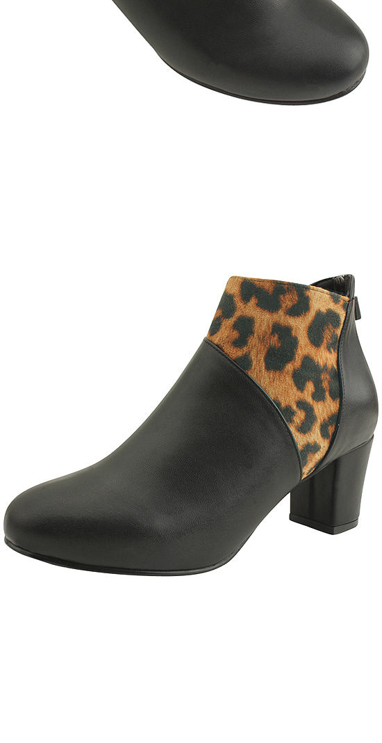 Leopard two-tone ankle boots black
