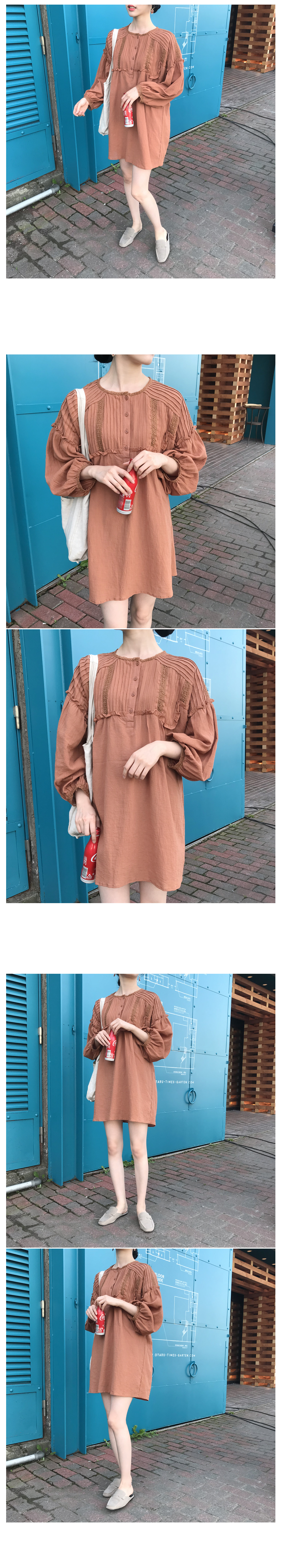 Fairy Pintuck Mini Dress-Camel