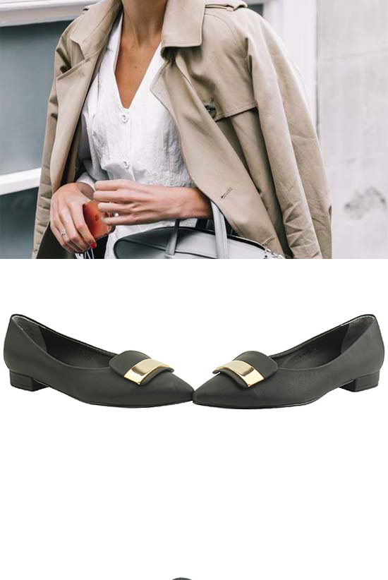 Gold metal low heel flat loafers black