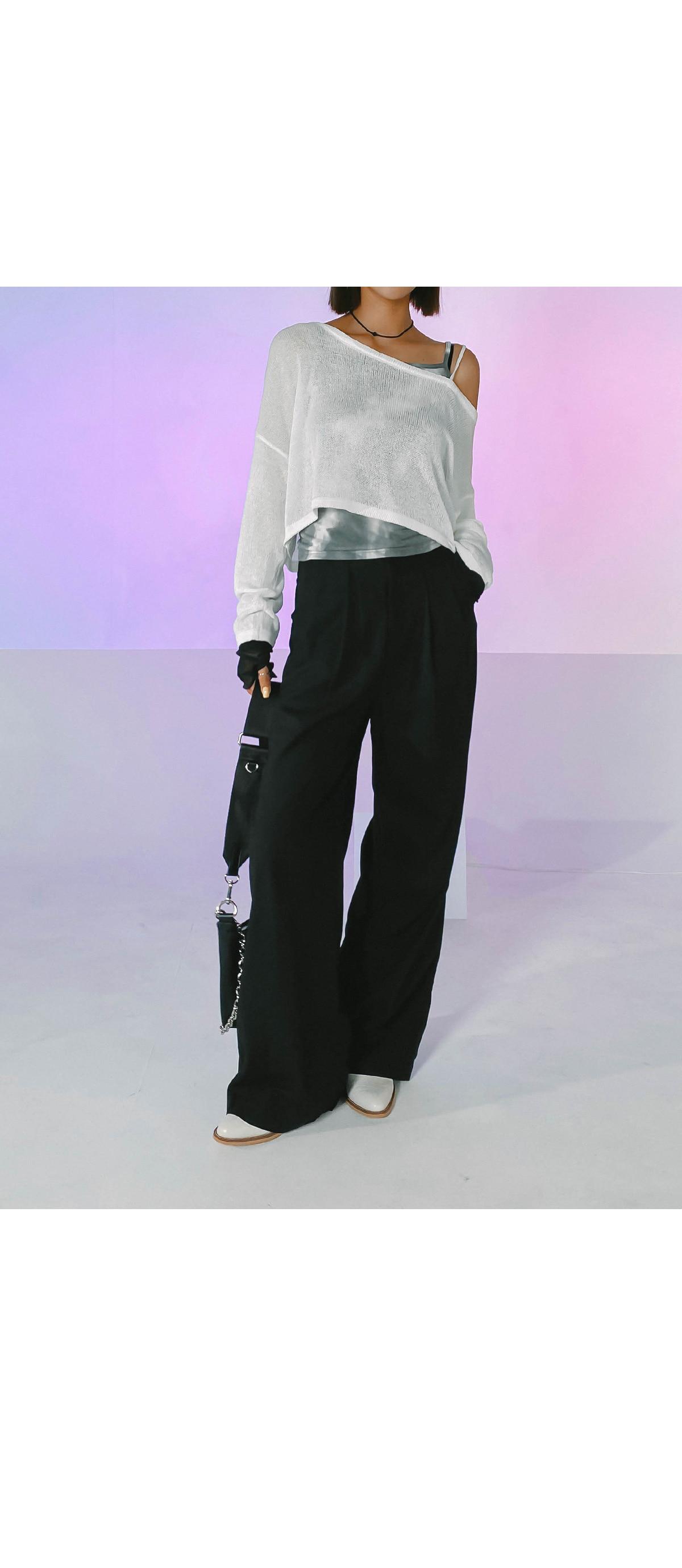 Linen pintuck wide pants