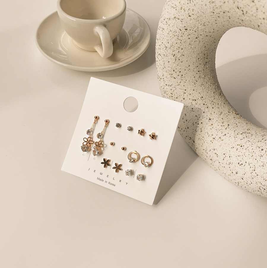 Purine Flower Ball Cubic Set of 7 Earrings