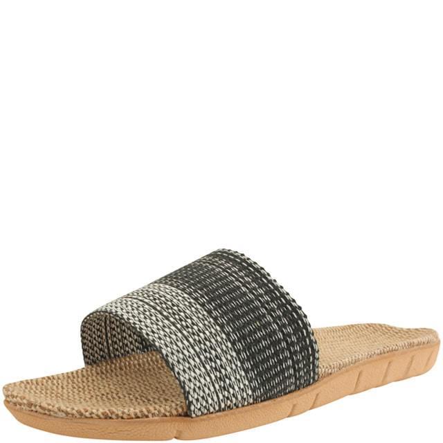 Linen Rattan Flat Slippers Black