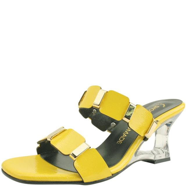 Unique Middle Wedge Heel Mule Slipper Yellow