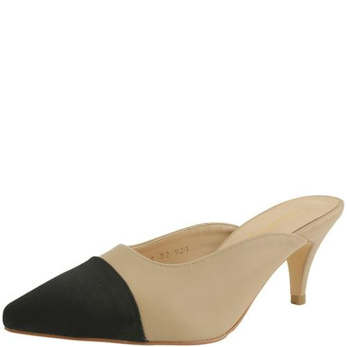 Two-tone Mule Stiletto Middle Heel Beige