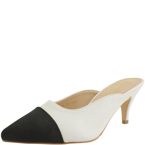 Two Tone Mule Stiletto Middle Heel White