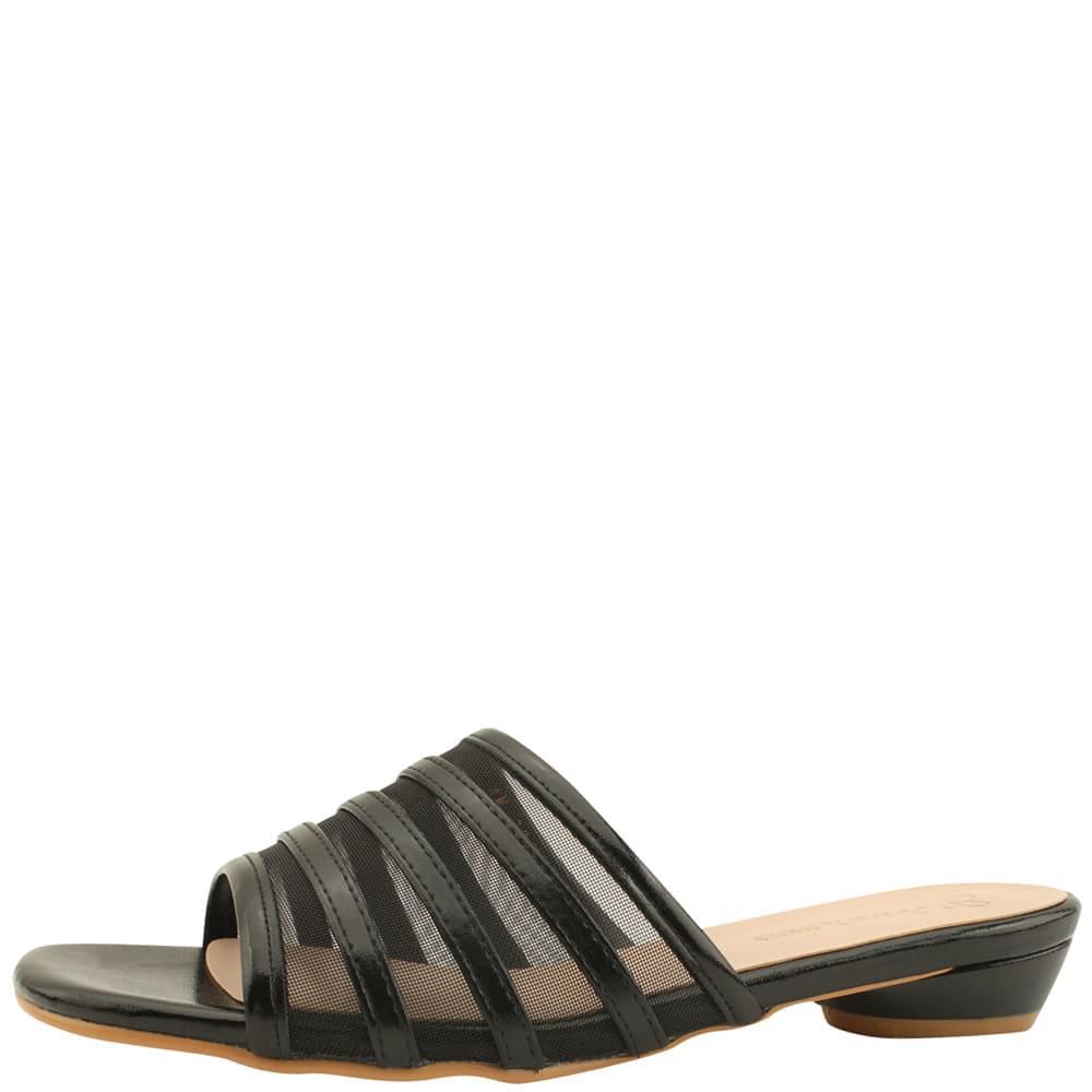 Mesh Low Heel Mule Slippers Black